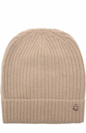 Кашемировая шапка фактурной вязки Colombo. Цвет: темно-бежевый