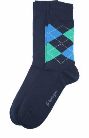 Комплект из двух пар хлопковых носков Burlington. Цвет: темно-синий