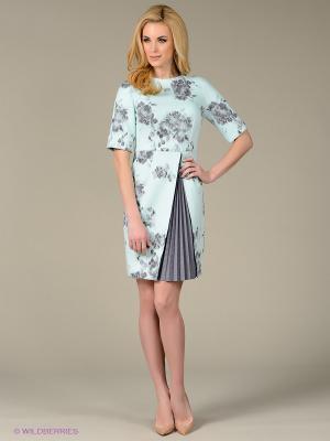 Платье Sweet Me. Цвет: бирюзовый, серый