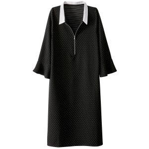 Платье с рисунком в горошек на молнии спереди La Redoute Collections. Цвет: черный