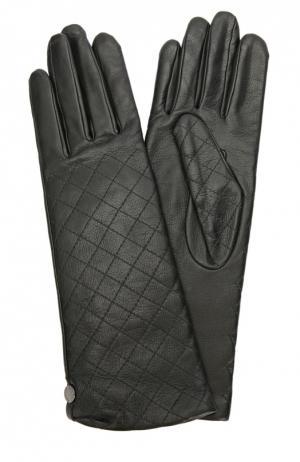 Кожаные перчатки с прострочкой Agnelle. Цвет: черный