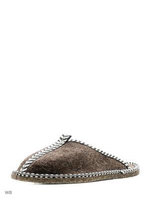 Тапочки для бани войлок Метиз. Цвет: серо-коричневый, серый