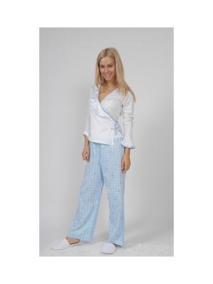 Пижама с запахом La Pastel. Цвет: белый, голубой