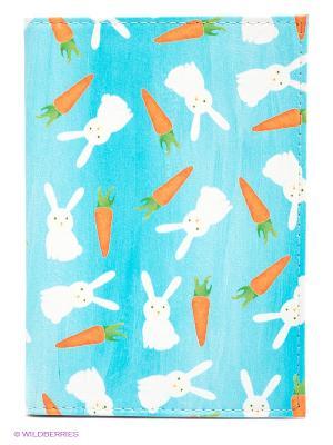 Обложка для автодокументов Зайки и морковки Mitya Veselkov. Цвет: голубой, оранжевый, белый