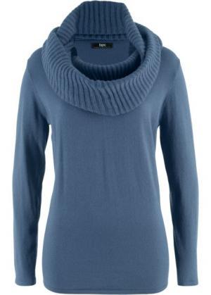 Пуловер 2 в 1 удлиненного дизайна с шалью (индиго) bonprix. Цвет: индиго