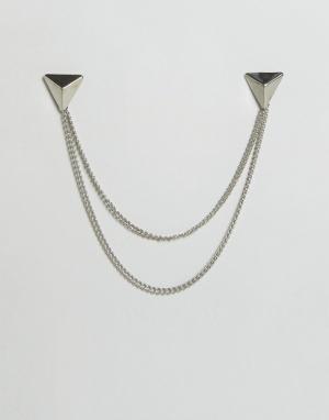 DesignB London Серебристые треугольные уголки для воротника с цепочками Londo. Цвет: серебряный