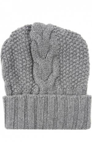 Шапка фактурной вязки из кашемира Kashja` Cashmere. Цвет: серый