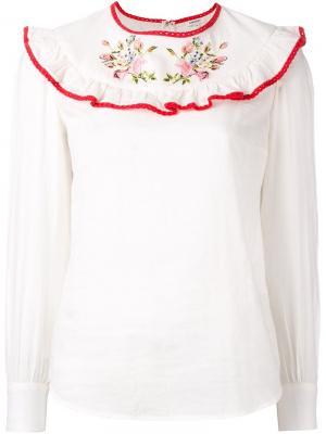 Блузка с оборками Manoush. Цвет: белый