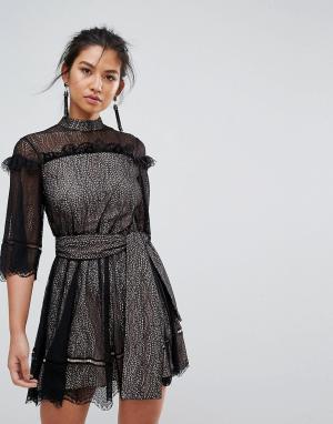 Keepsake Кружевное платье мини с поясом-завязкой. Цвет: черный