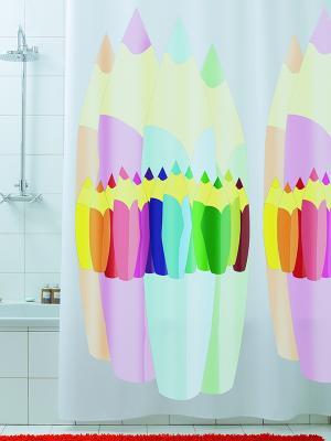Штора для ванной Matita Bacchetta. Цвет: красный, белый, желтый