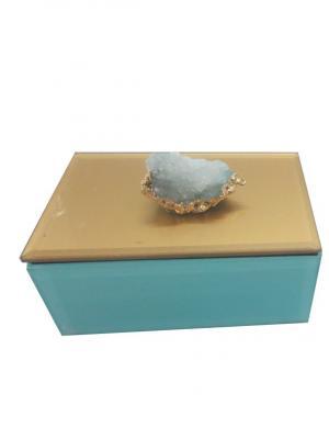 Шкатулка Белый агат (12,5x8x5,5см, из стекла для мелочей) Magic Home. Цвет: бирюзовый, белый, золотистый