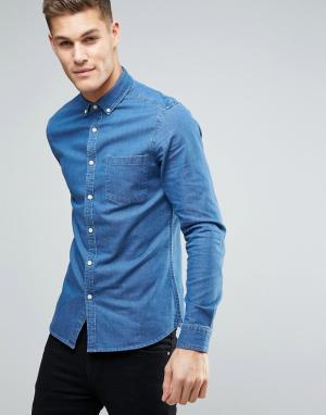 ASOS Узкая джинсовая рубашка. Цвет: синий