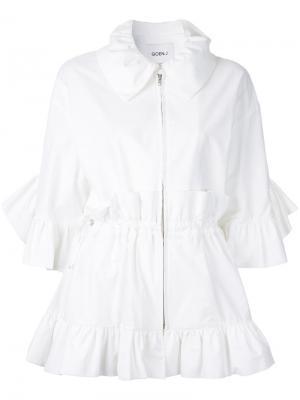 Куртка на молнии с оборками Goen.J. Цвет: белый