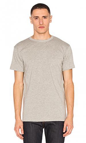 Тяжелые футболки с карманом набор 2 шт 3sixteen. Цвет: серый