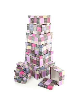 Набор из 11 картонных коробок 5,5*5,5*2,5-25,5*25,5*13см, Сиреневое сияние VELD-CO. Цвет: коричневый, розовый, фиолетовый