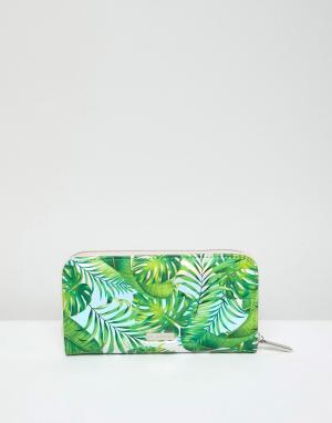 Skinnydip Кошелек на молнии с пальмовым принтом. Цвет: зеленый