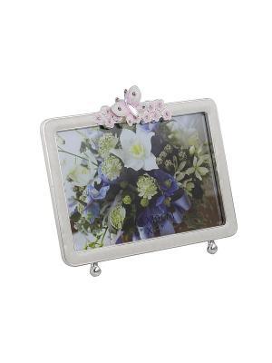 Фоторамка с бабочкой и цветами, белая, металлическая со стразами 10х15см PLATINUM quality. Цвет: белый, розовый