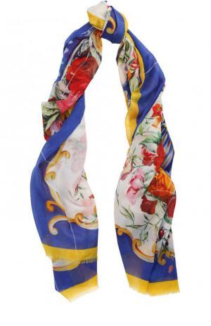 Хлопковое парео с принтом Dolce & Gabbana. Цвет: синий