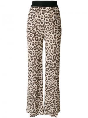 Расклешенные леопардовые брюки Twin-Set. Цвет: коричневый