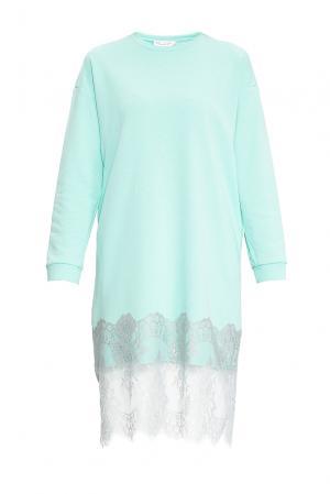 Платье-толстовка из хлопка 169882 Private Sun. Цвет: зеленый