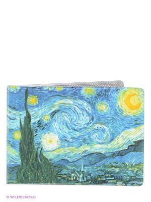 Обложка для студенческого Ван Гог Звездная ночь Mitya Veselkov. Цвет: синий