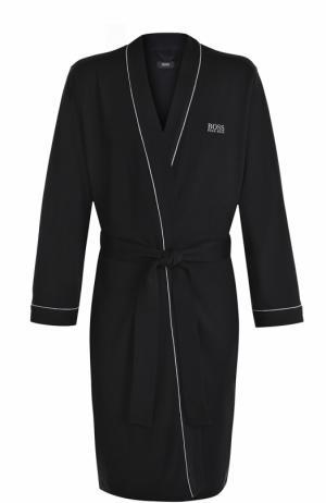 Хлопковый халат с поясом BOSS. Цвет: черный