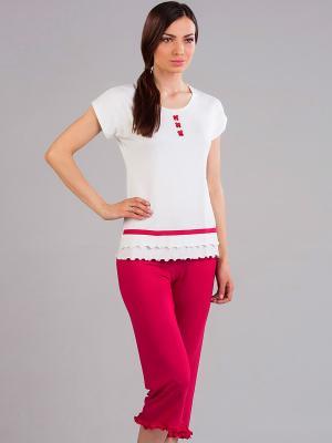 Пижама NicClub. Цвет: малиновый, молочный