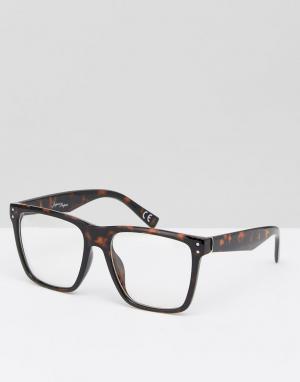 Jeepers Peepers Черепаховые квадратные очки с прозрачными стеклами. Цвет: коричневый