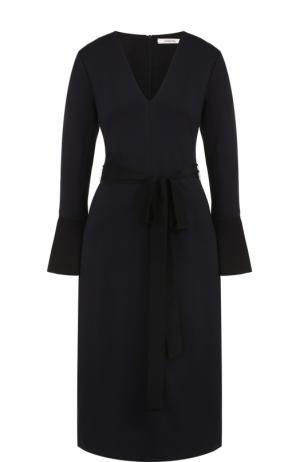 Приталенное платье-миди с расклешенными рукавами Dorothee Schumacher. Цвет: темно-синий