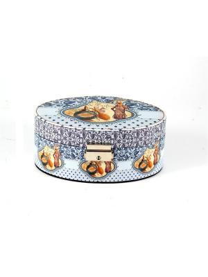 Шкатулка для ювелирных украшений 18*13*8см Русские подарки. Цвет: синий, серо-голубой, голубой, светло-коричневый