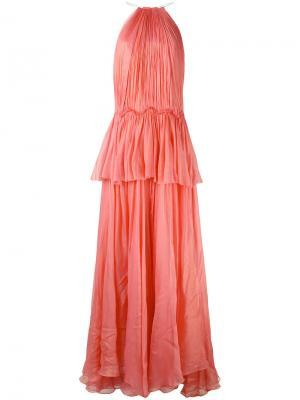 Длинное платье с оборками Maria Lucia Hohan. Цвет: розовый и фиолетовый