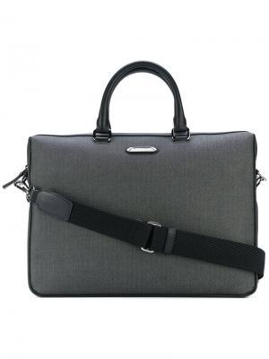 Портфель с узором в елочку Ermenegildo Zegna. Цвет: серый