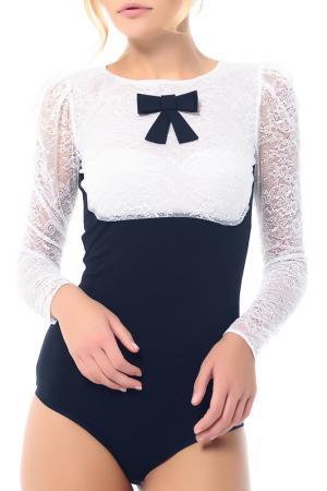 Блуза-боди Arefeva. Цвет: черно-белый