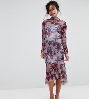 Hope and Ivy Maternity Платье с длинными рукавами и цветочным принтом &. Цвет: мульти