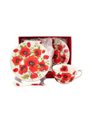 Чайная пара Маки Elan Gallery. Цвет: красный, белый