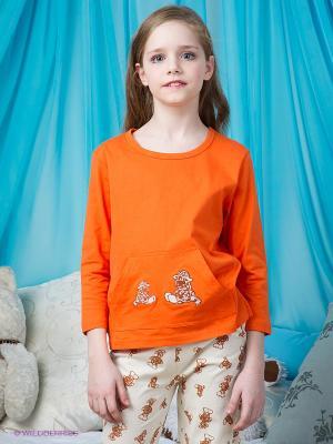 Пижама Lowry. Цвет: коричневый, молочный, оранжевый