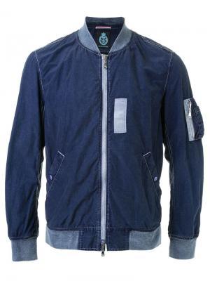 Куртка-бомбер с контрастными деталями Guild Prime. Цвет: синий