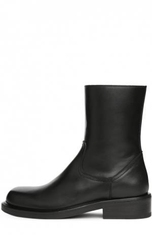 Кожаные ботинки на устойчивом каблуке Ann Demeulemeester. Цвет: черный