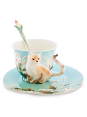 Чайная пара Британец Pavone. Цвет: голубой
