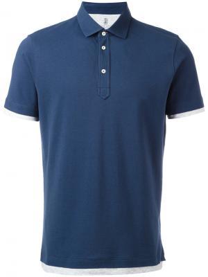 Классическая футболка-поло Brunello Cucinelli. Цвет: синий