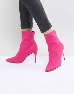 Faith Розовые замшевые ботинки с бантами. Цвет: розовый