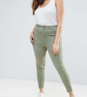 New Look Plus Выбеленные джинсы скинни Curve. Цвет: зеленый