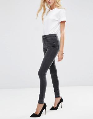 ASOS Черные выбеленные джинсы с завышенной талией Premium Sculpt Me. Цвет: черный