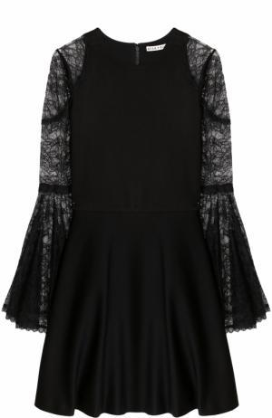 Приталенное мини-платье с кружевными рукавами Alice + Olivia. Цвет: черный
