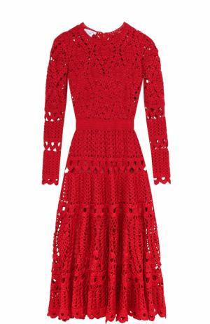 Шелковое кружевное платье-миди с длинным рукавом Oscar de la Renta. Цвет: красный