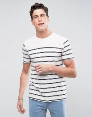 Abercrombie & Fitch Кремовая футболка в полоску. Цвет: серый