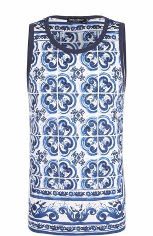 Хлопковая майка с принтом Dolce & Gabbana. Цвет: голубой
