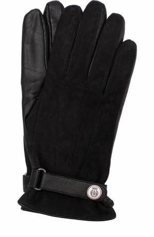 Кожаные перчатки с ремешком Roeckl. Цвет: черный