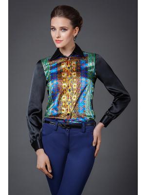 Блузка Арт-Деко. Цвет: черный, синий, зеленый, желтый
