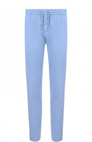 Хлопковые брюки свободного кроя Berwich. Цвет: голубой
